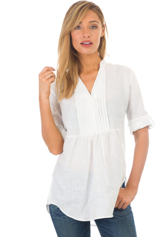 Aura Sky, Sleeveless Linen Shirt with Pockets