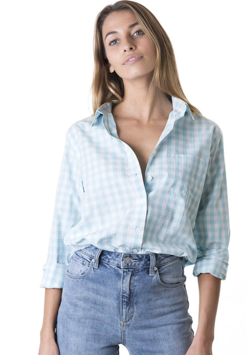 Gigi, Aqua Gingham Cotton Shirt