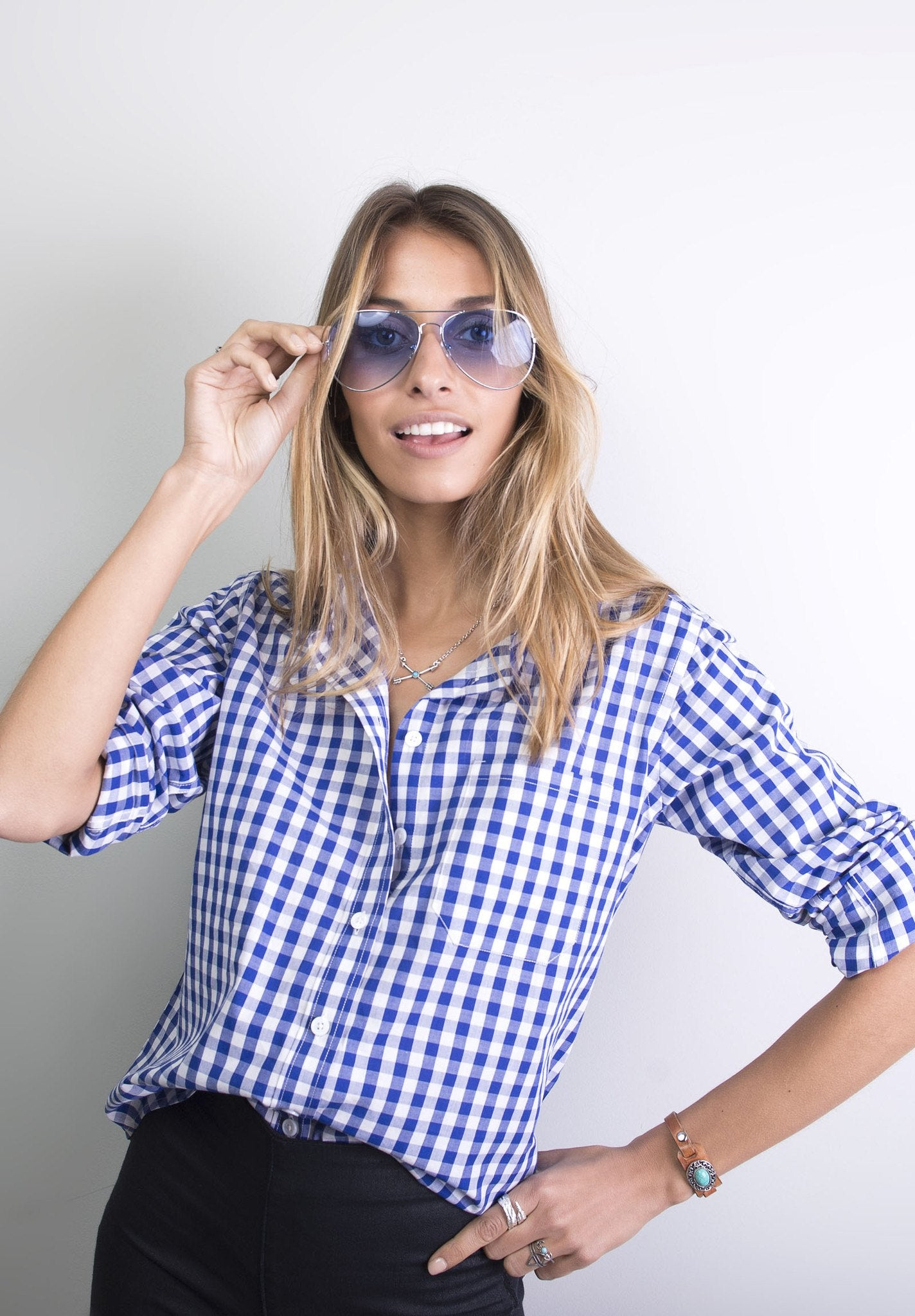 Gigi, Blue Gingham Cotton Shirt