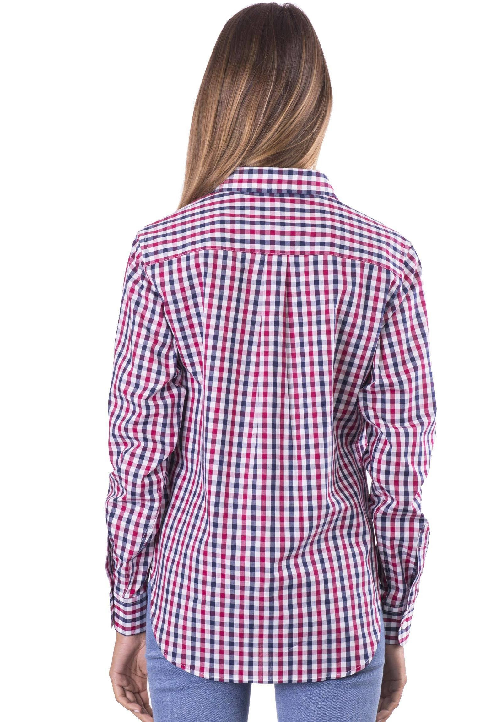 Gigi, Red Blue Gingham Cotton Shirt