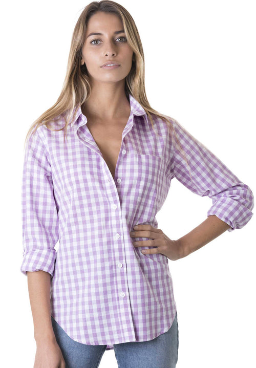 Gigi, Lavanda Gingham Cotton Shirt