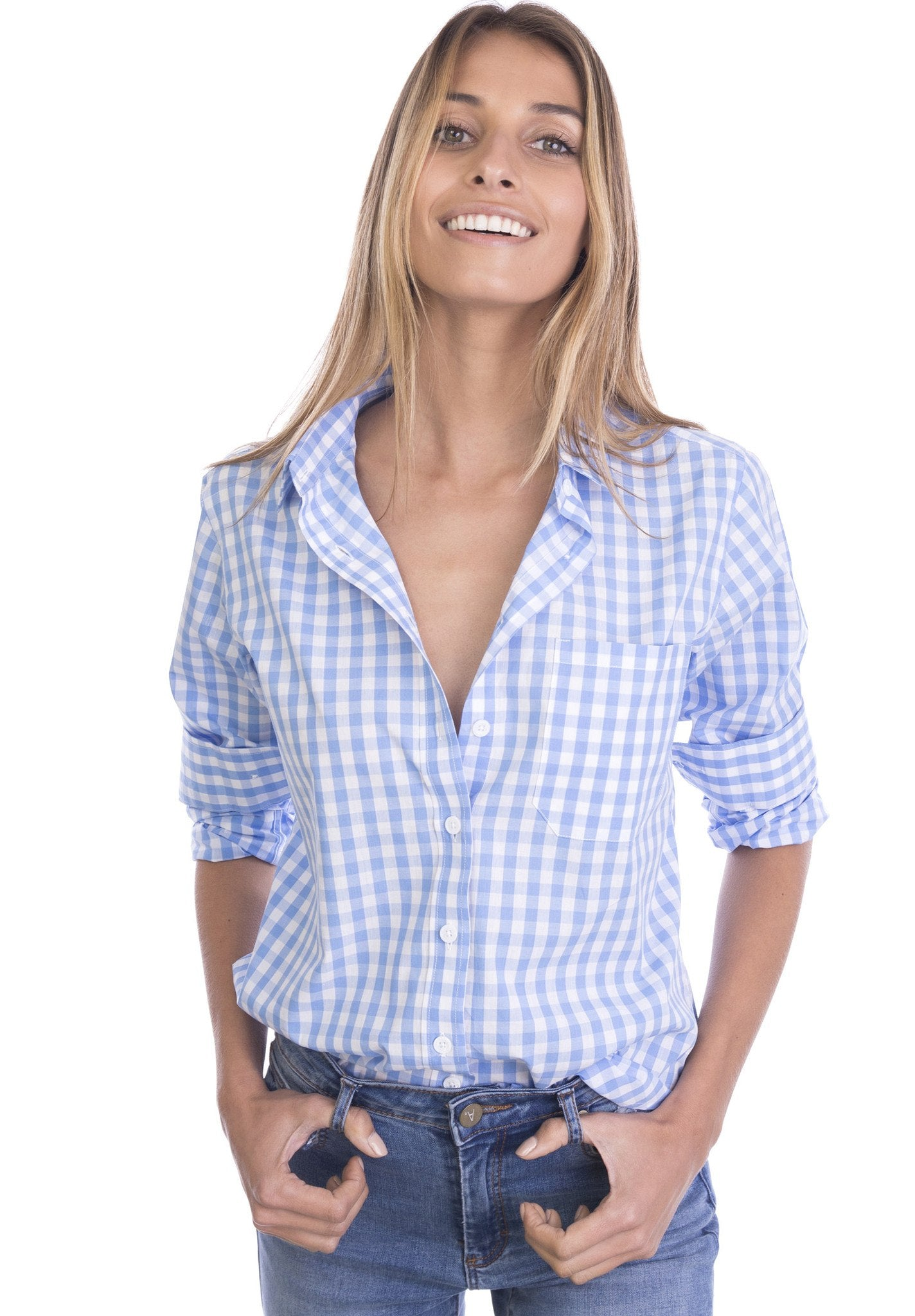 Gigi, Sky Gingham Cotton Shirt