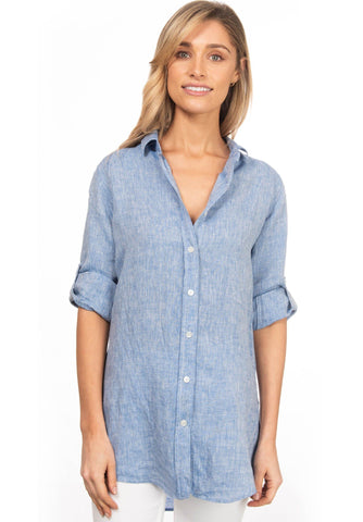 Rina Aqua, Striped Linen Shirt
