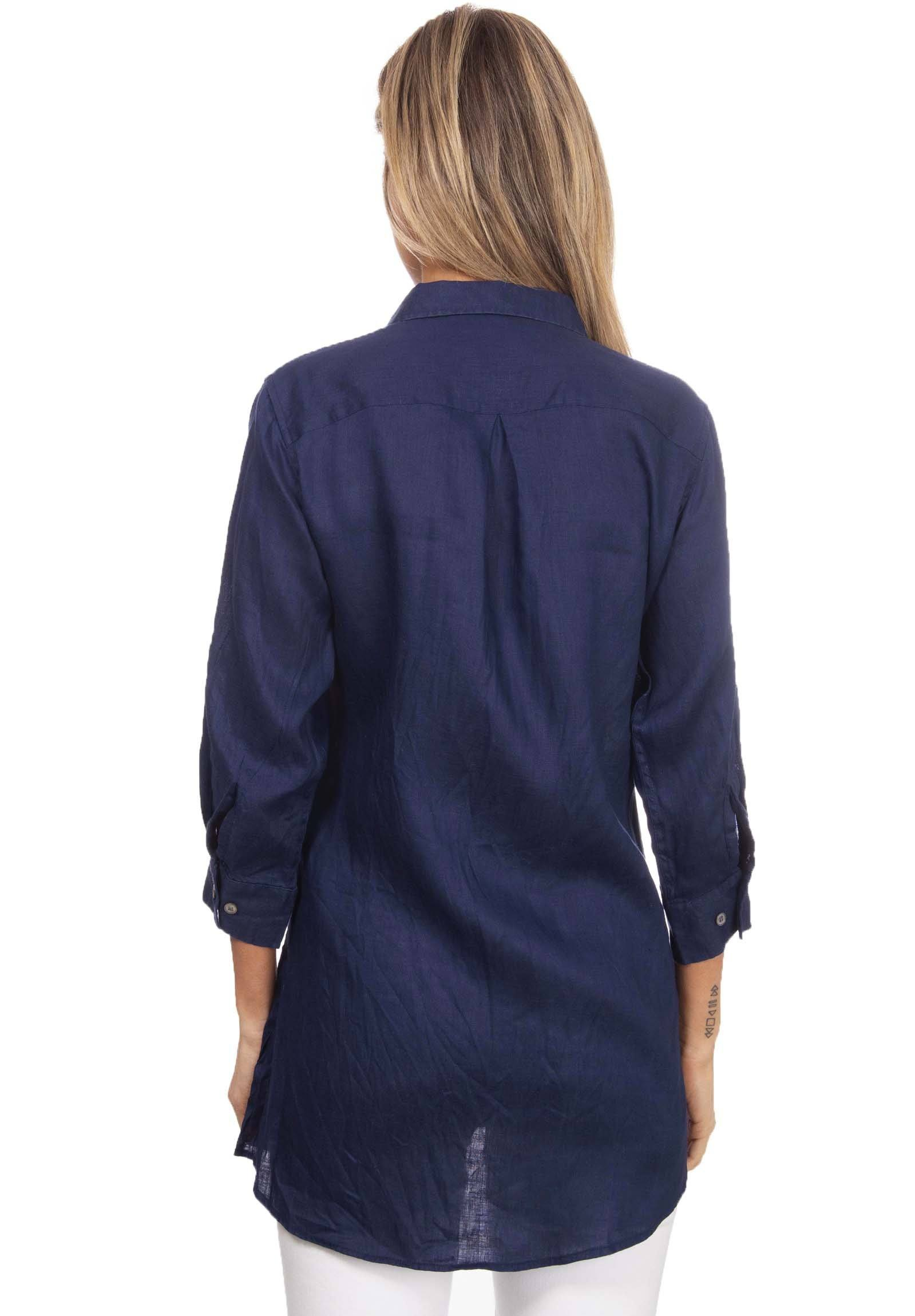 Gaia Navy Blue, Casual Linen Tunic with 3/4 Sleeves