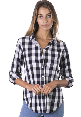 Plaid Plus White & Blue, linen check Curvy Size Shirt