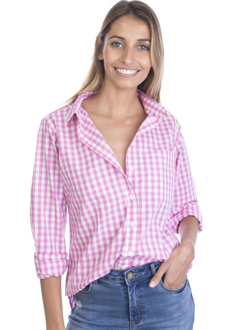 Gigi, Black Gingham Cotton Shirt