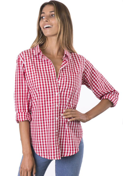 Gigi, Red Gingham Cotton Shirt