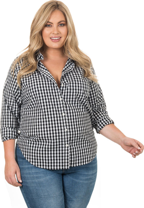 Gigi Plus Black, Gingham Cotton Curvy Size Shirt