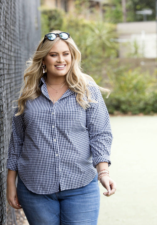 Gigi Plus Micro Blue, Gingham Cotton Curvy Size Shirt