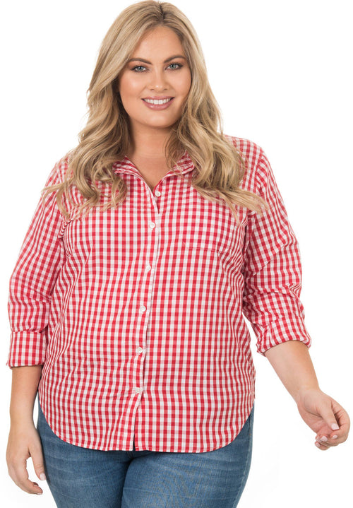 Gigi Plus Red, Gingham Cotton Curvy Size Shirt