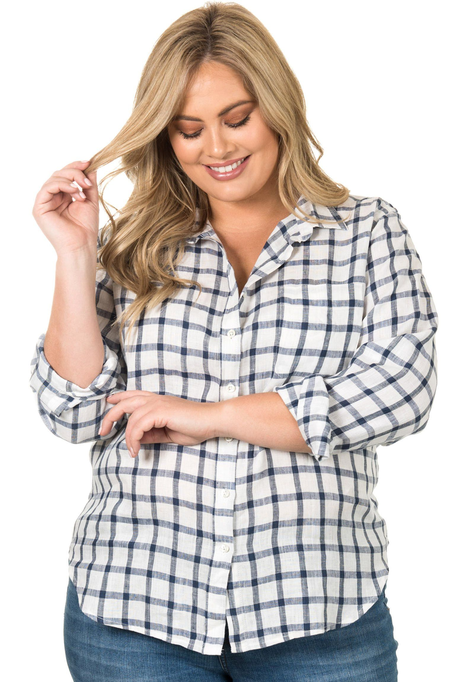 Grid Plus White Blue, linen check Curvy Size Shirt