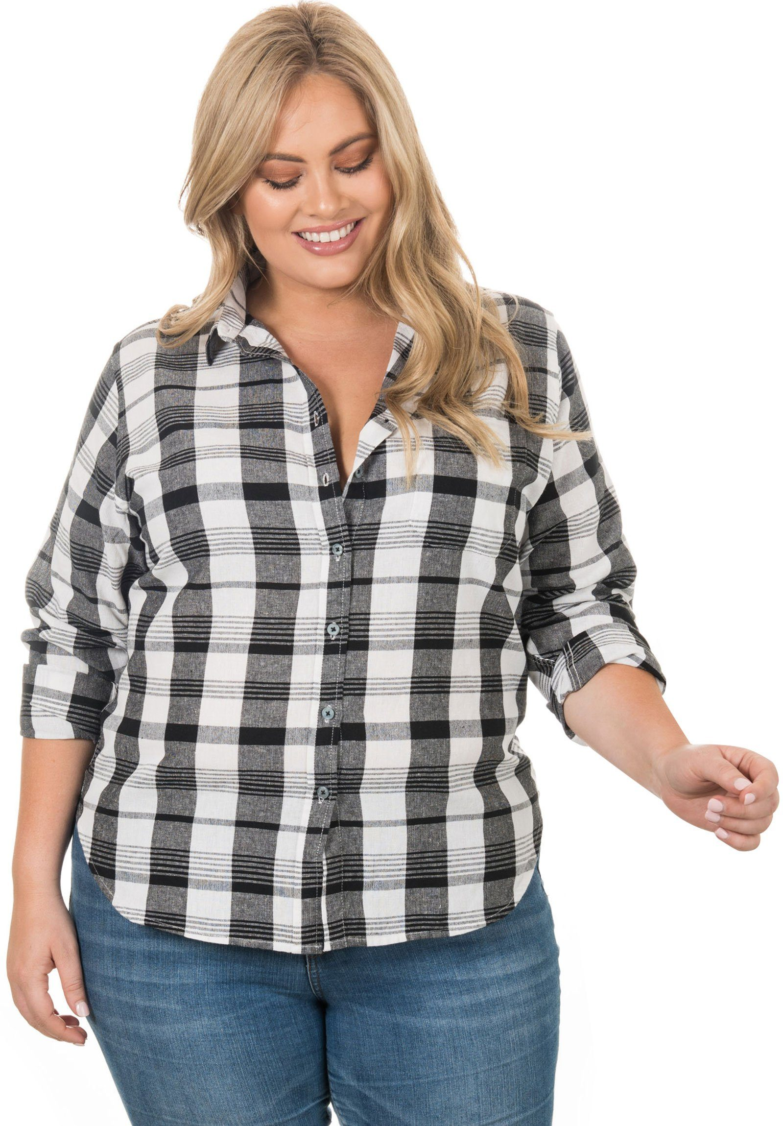 Plaid Plus Black & White, linen check Curvy Size Shirt