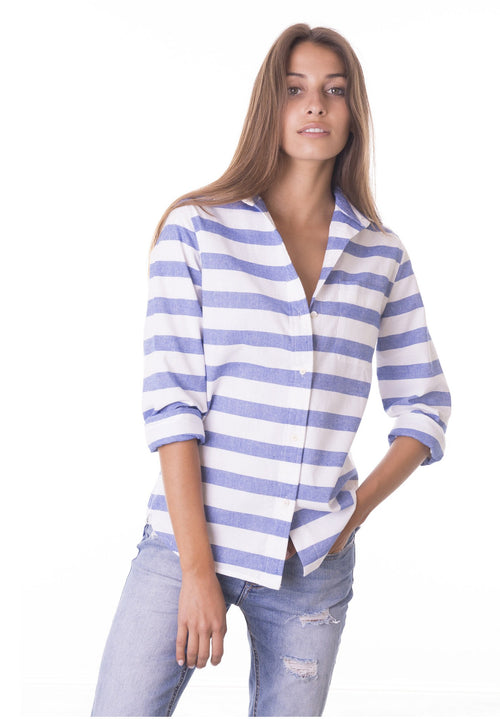 Hera, White & Blue Cotton Horizontal Stripe Shirt