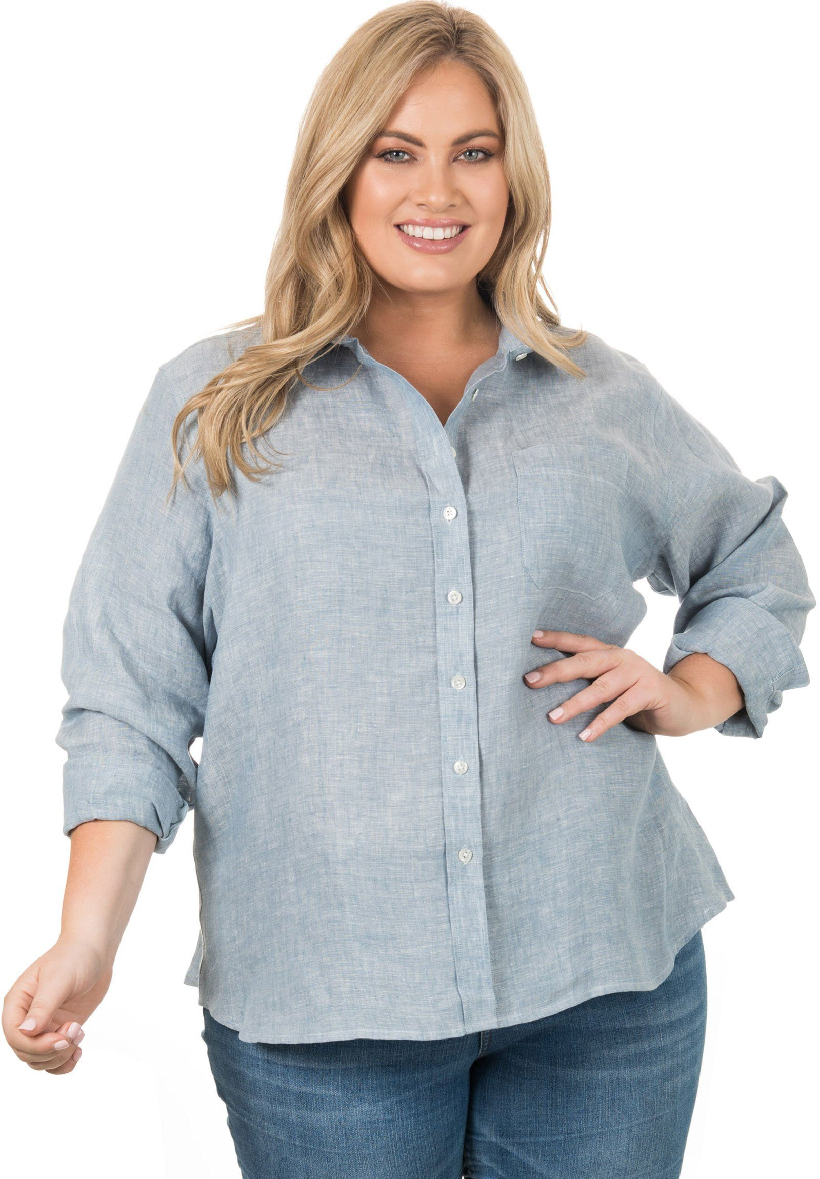 Iris Blue Melange, Plus Size Shirt