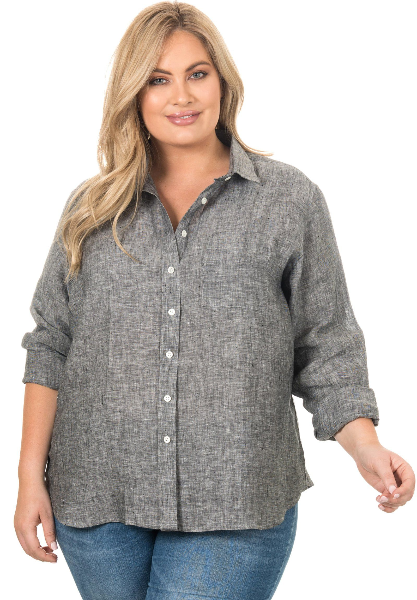 Iris Black Melange, Plus Size Shirt