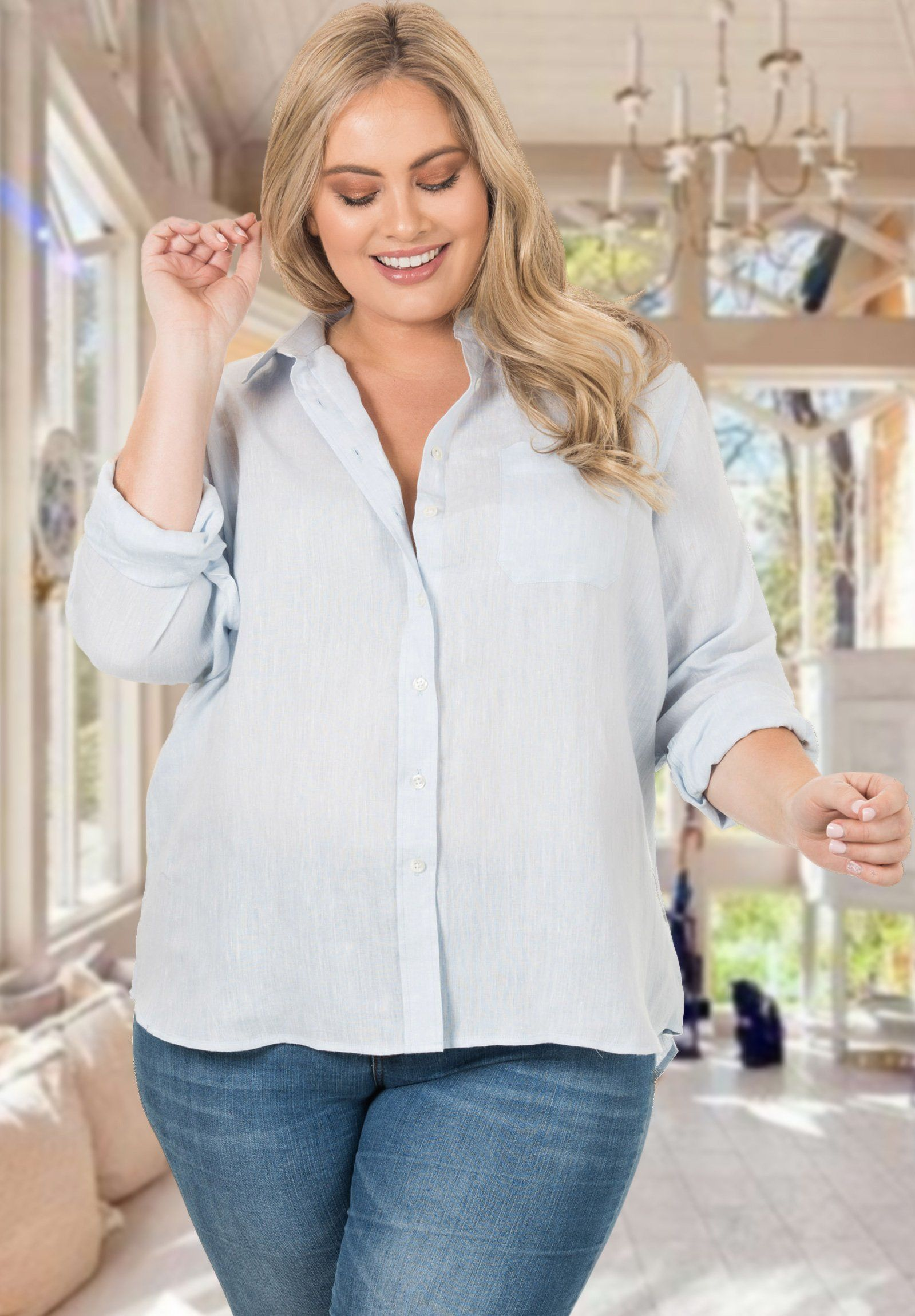 Iris Linen Sky Blue, Plus Size Cut Shirt