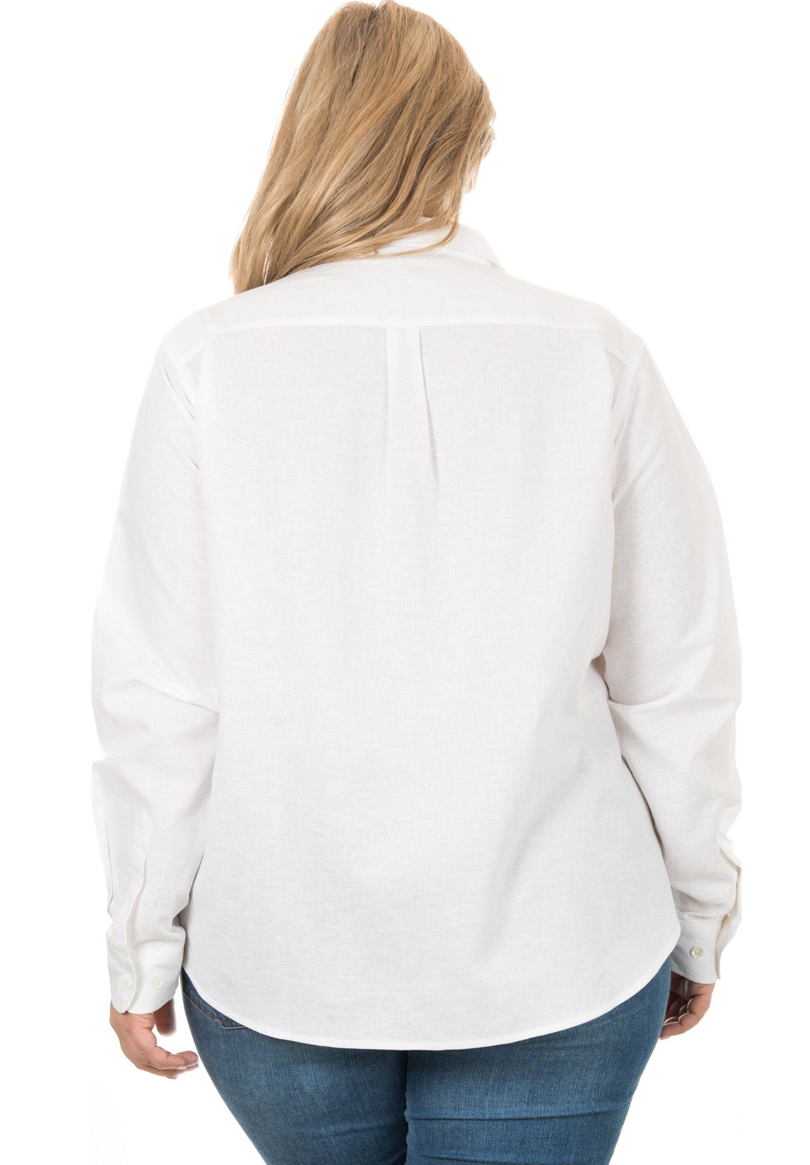 Iris Linen White, Plus Size Shirt