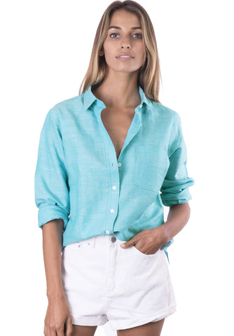 Rina Azure, Pin Striped Linen Shirt