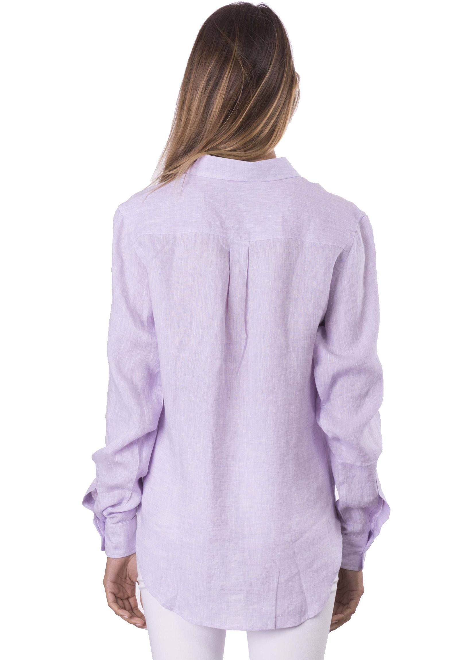 Lete Lilac, Relaxed Linen Shirt with Pockets