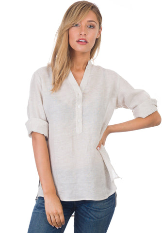 Gaia Sand, Casual Linen Tunic with 3/4 Sleeves