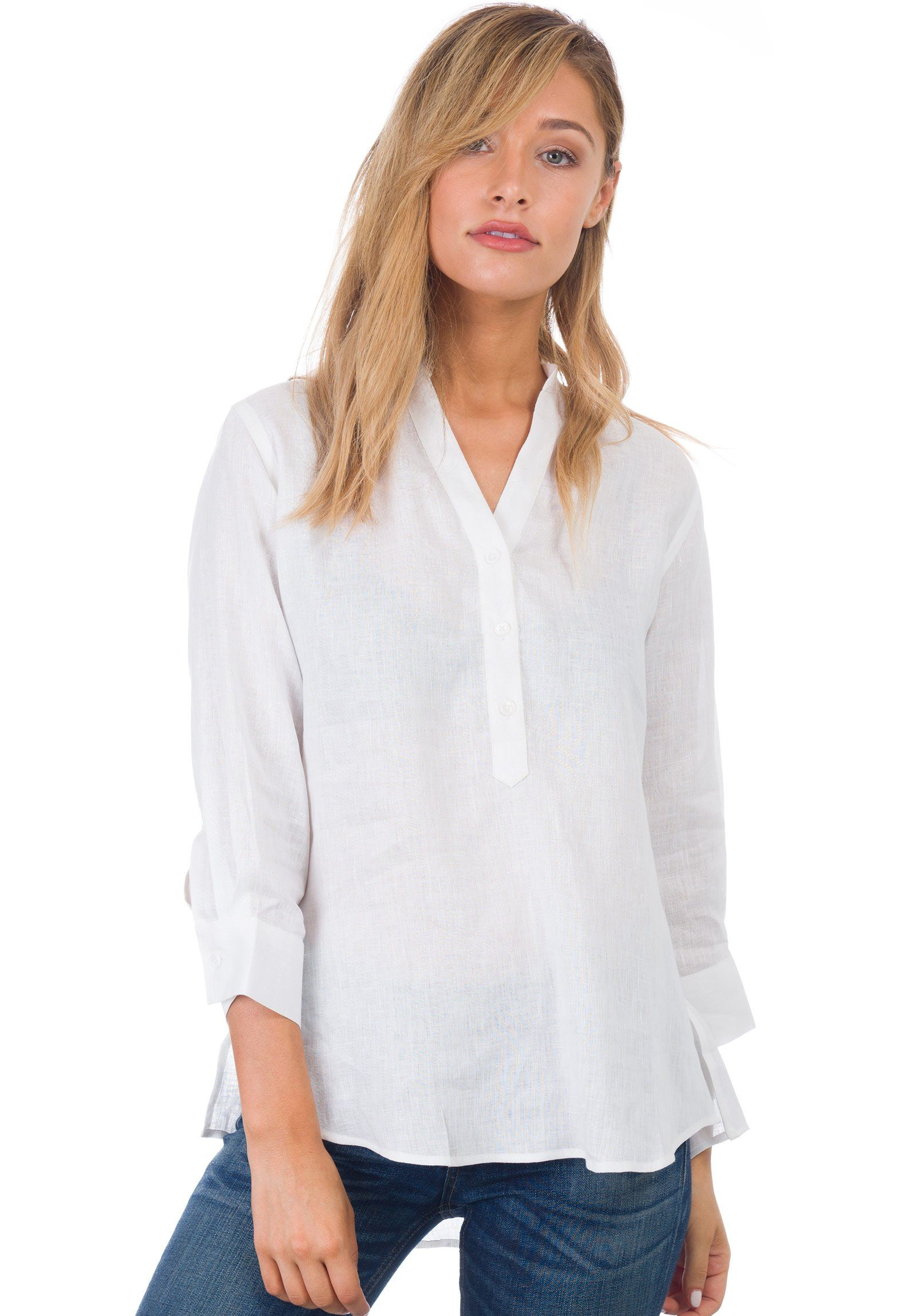 0db9a7d35b1 Kim, White Pop-Over Linen Tunic Shirt – CAMIXA