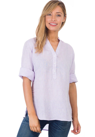 Iris Striped Linen, Plus Size Shirt