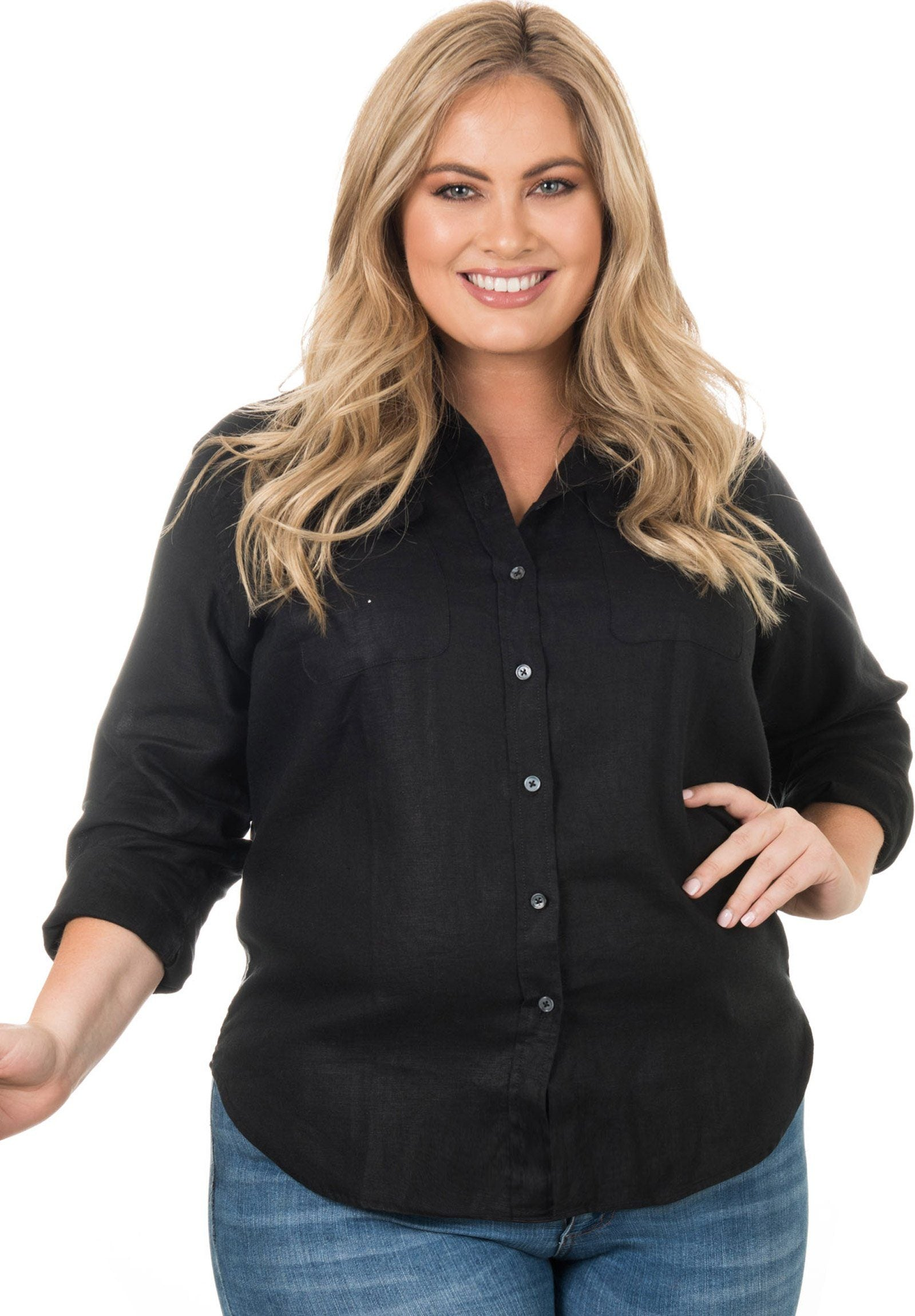 Lete Linen Black, Plus Size Cut Shirt with Pockets