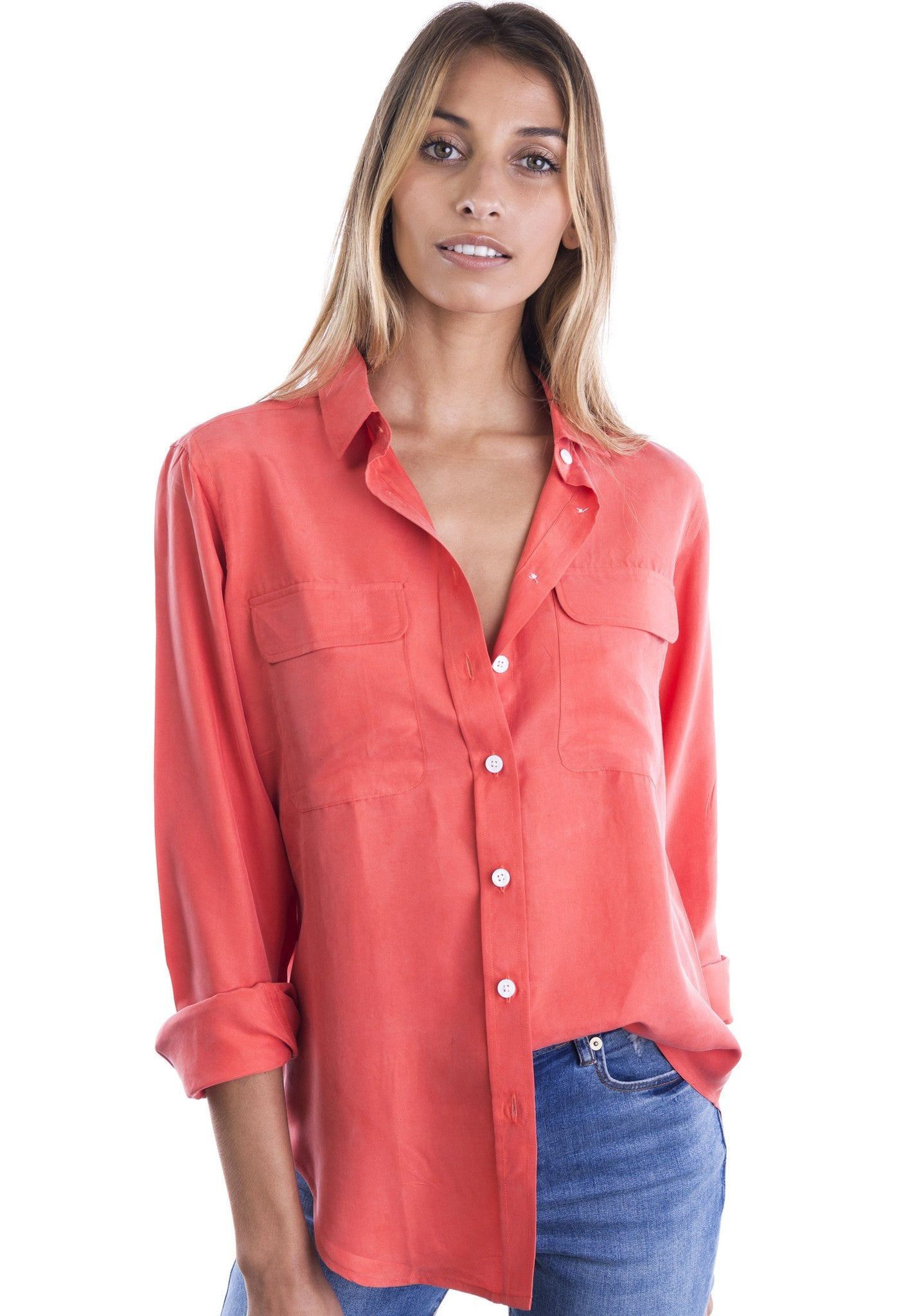 Lete Silk Coral, Sand Washed Shirt with pockets