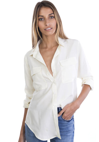 Seta White, Pure Crepe de Chine Silk, Slim-Fit Shirt