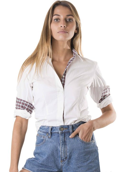 Lavinia white shirt with tartan contrasts