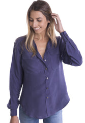 Lete Silk Blue, Sand Washed Shirt with pockets