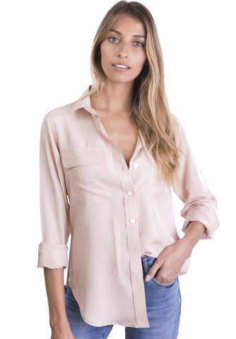 Aura Silk Coral, Sand-washed sleeveless shirt with pockets
