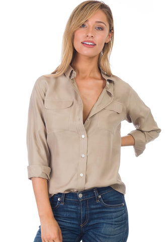 Lete Linen Khaki, Plus Size Cut Shirt with Pockets