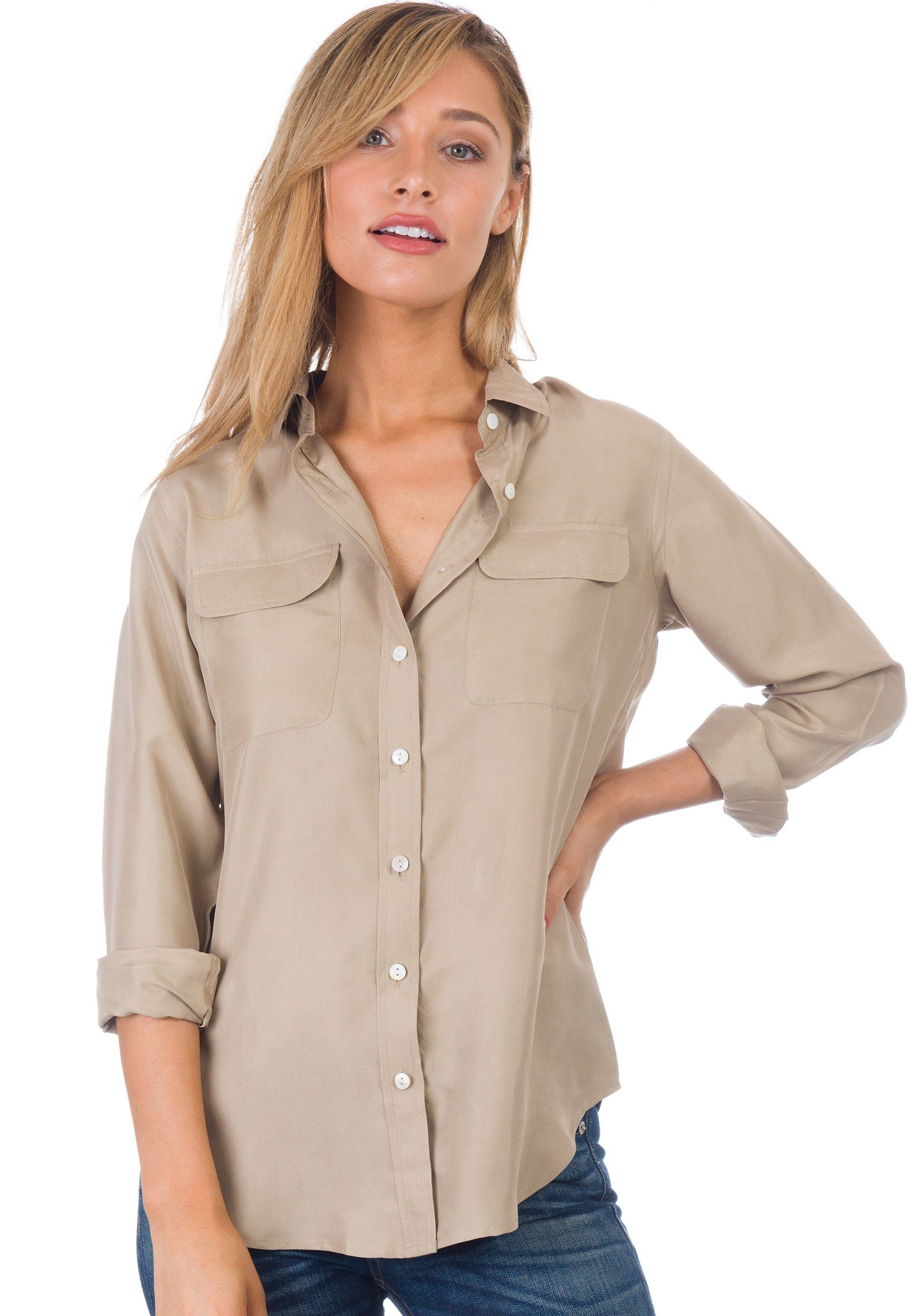 Lete Silk Khaki, Stone Washed Shirt with pockets