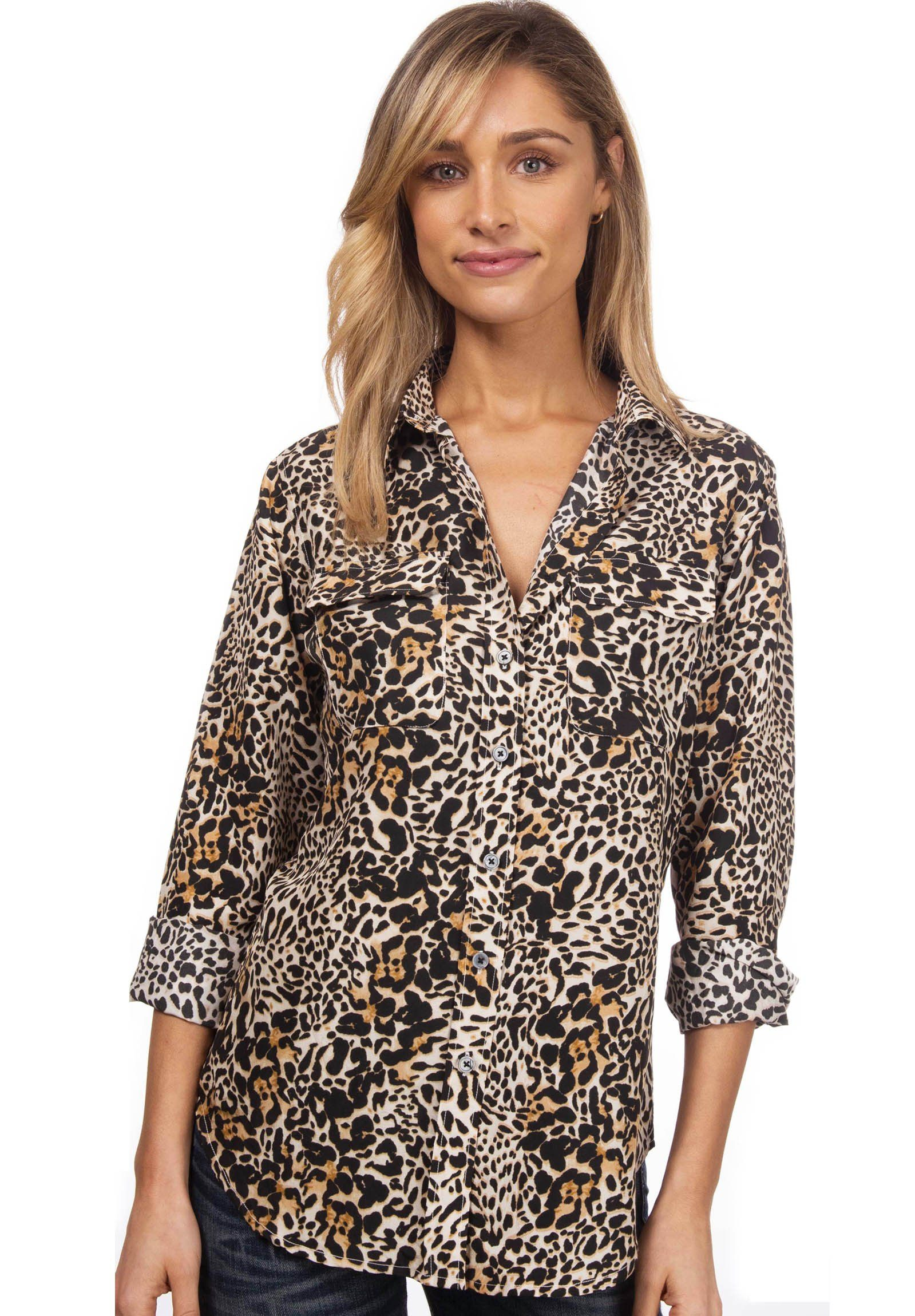 Lete Silk Leopard, Sand-Washed Shirt with pockets