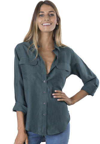 Lete Revere Green, Relaxed Linen Shirt