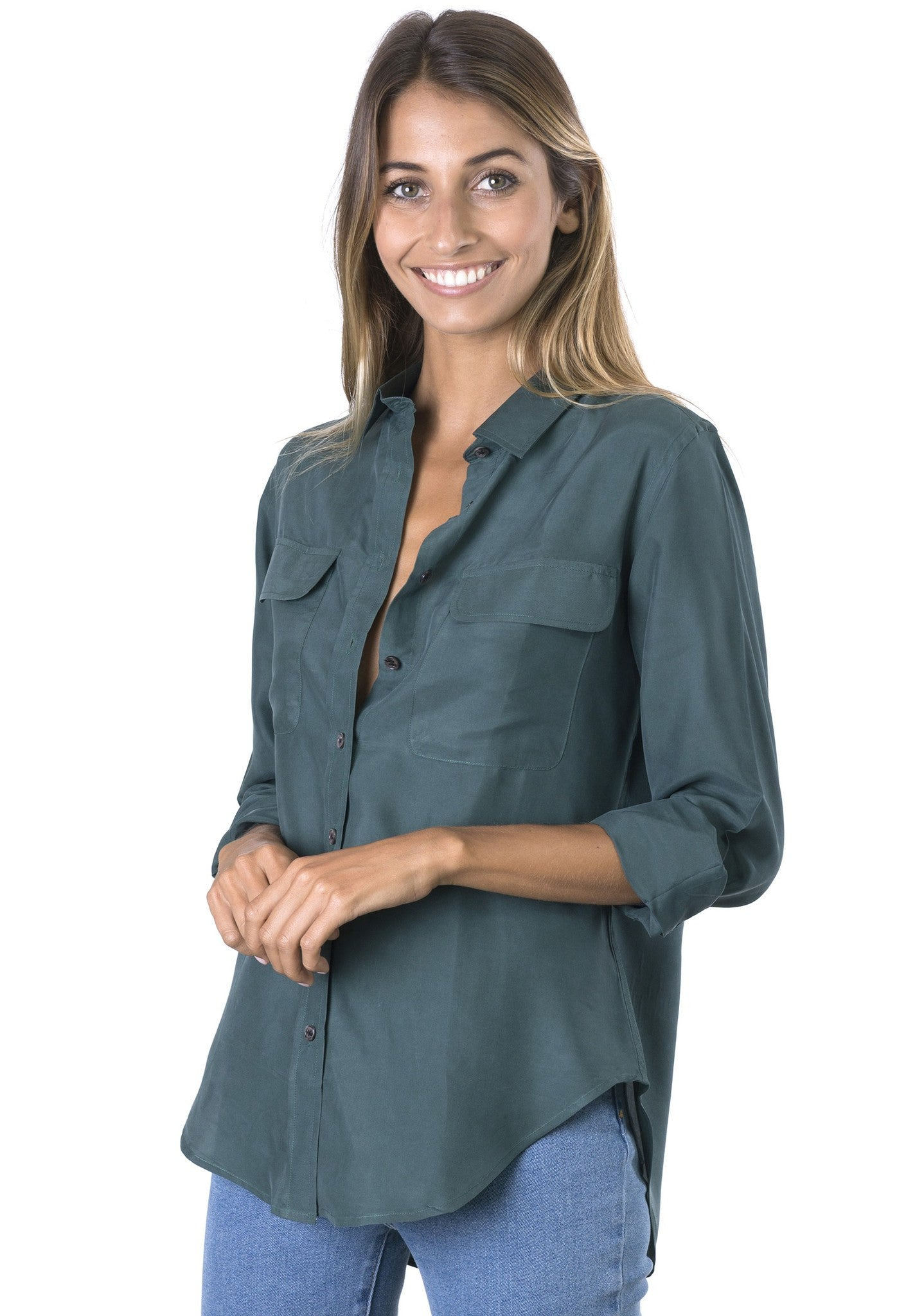 Lete Silk Petrol, Sand-washed shirt with pockets