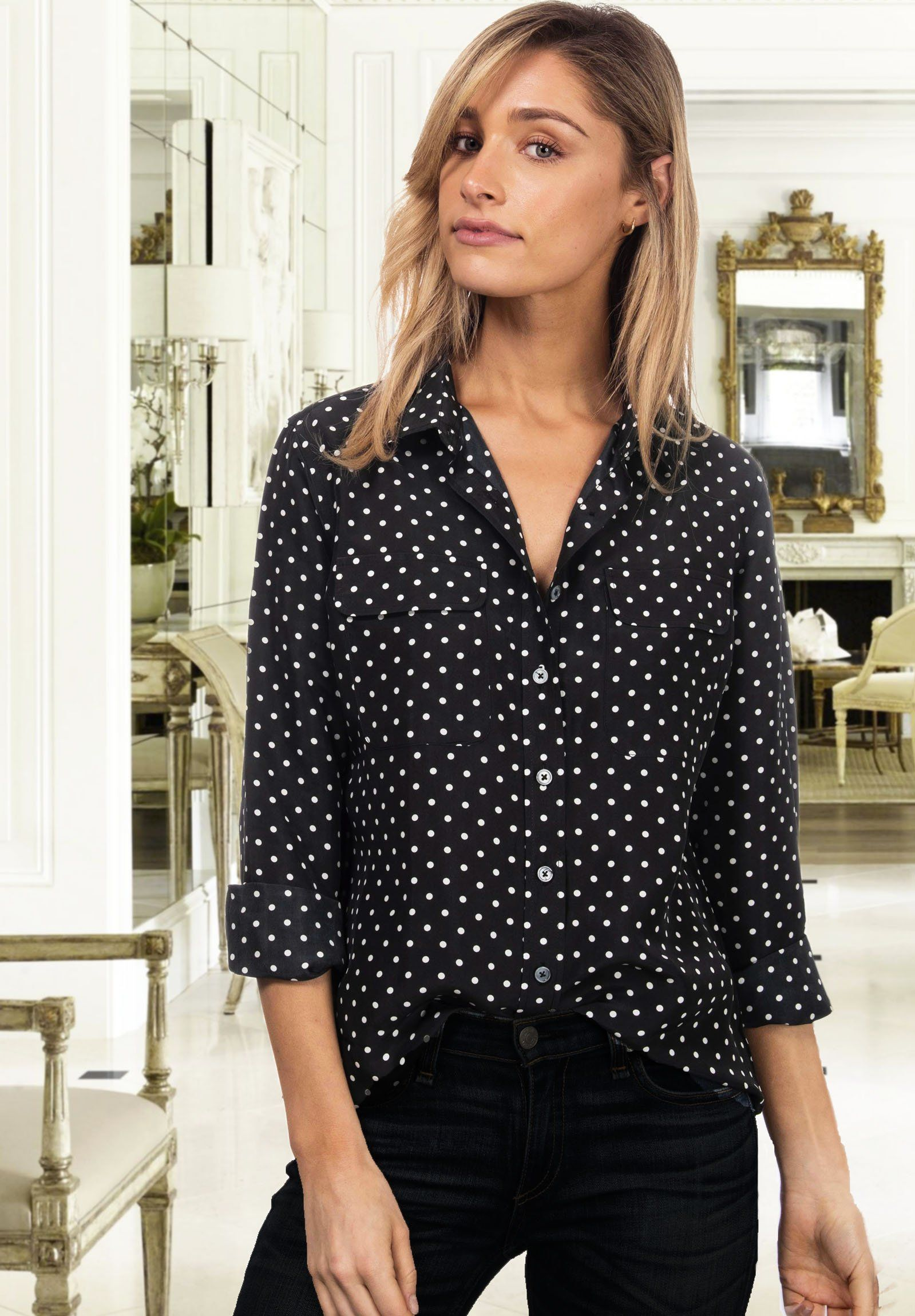 Lete Silk Polka Dots Black, Sand-Washed Shirt with pockets