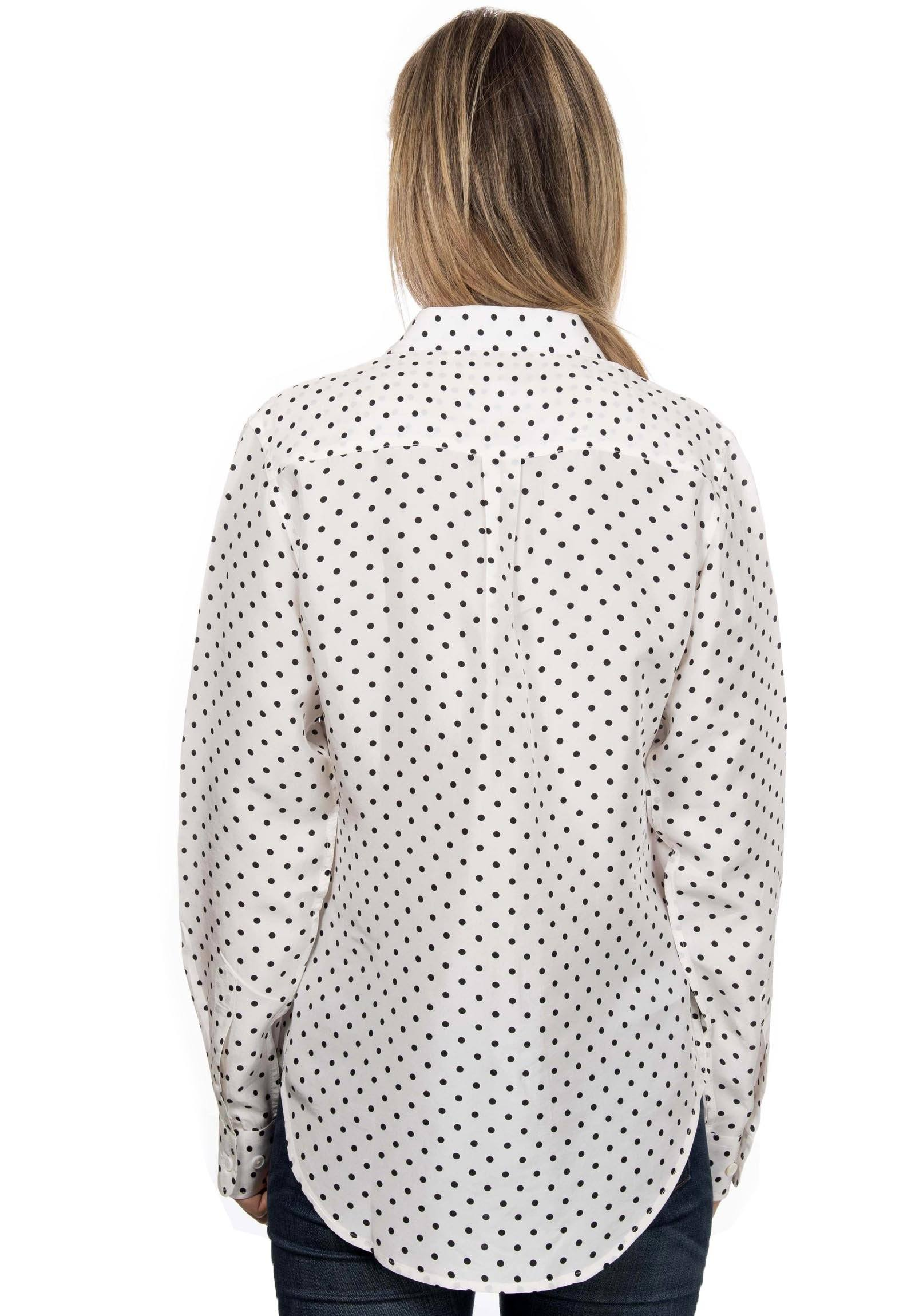 Lete Silk Polka Dots White, Sand-Washed Shirt with pockets