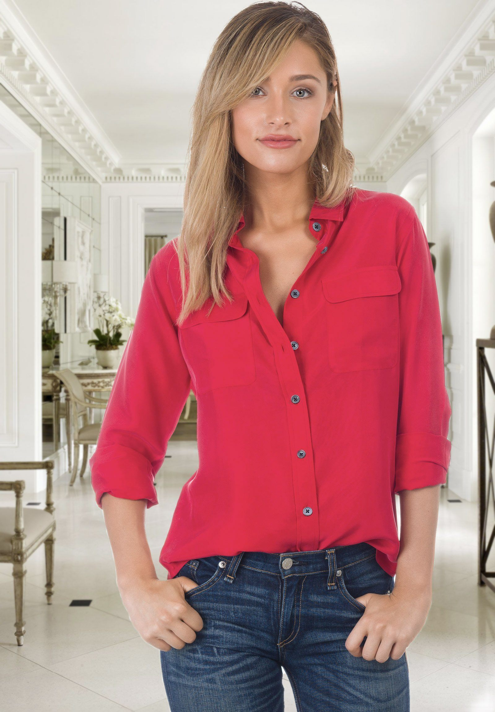 Lete Silk Washed Red, Stone Washed Shirt with pockets