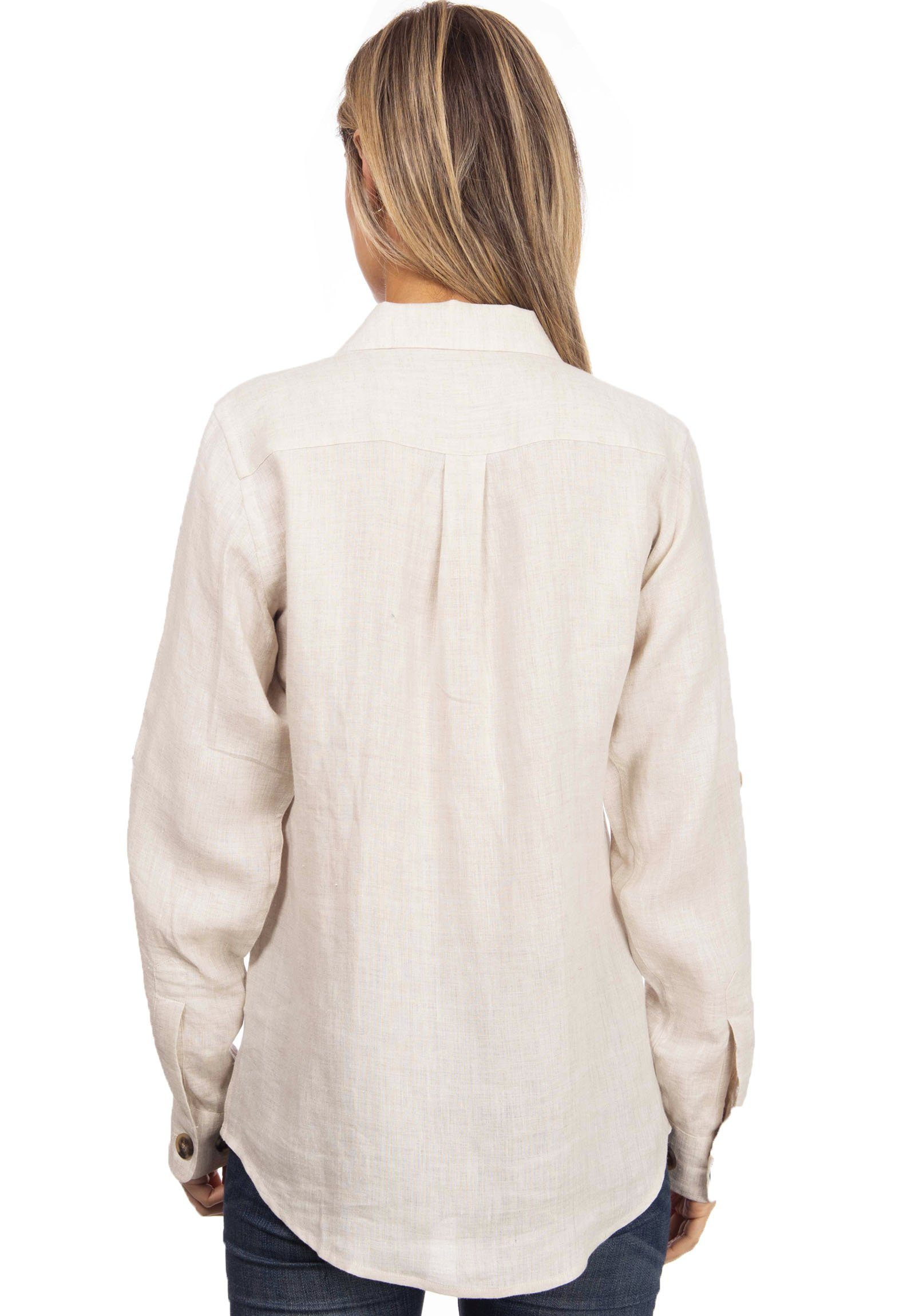 Lete Revere Natural, Relaxed Linen Shirt
