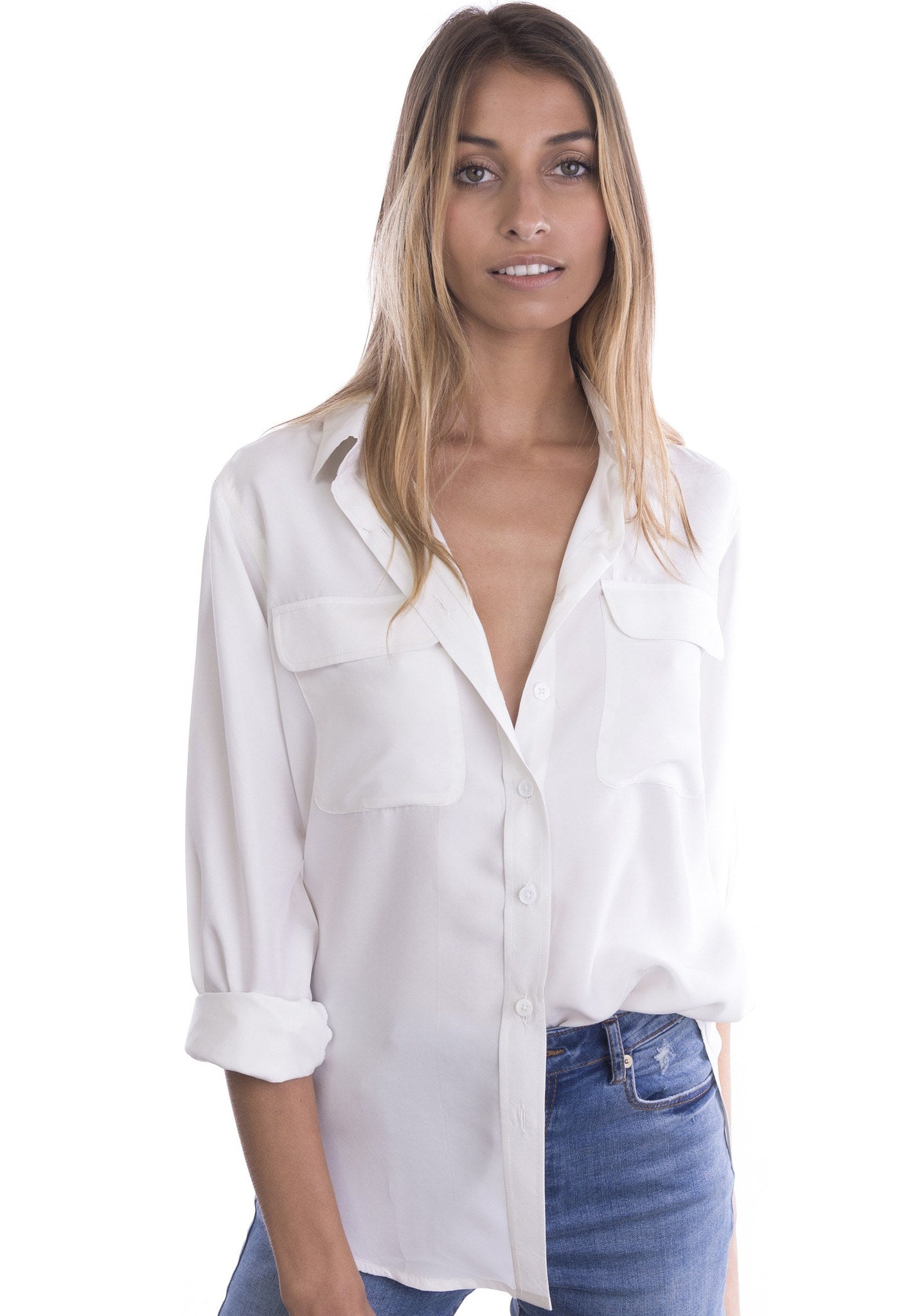 be2b681f Lete Silk White, Sand Washed Shirt with pockets – CAMIXA