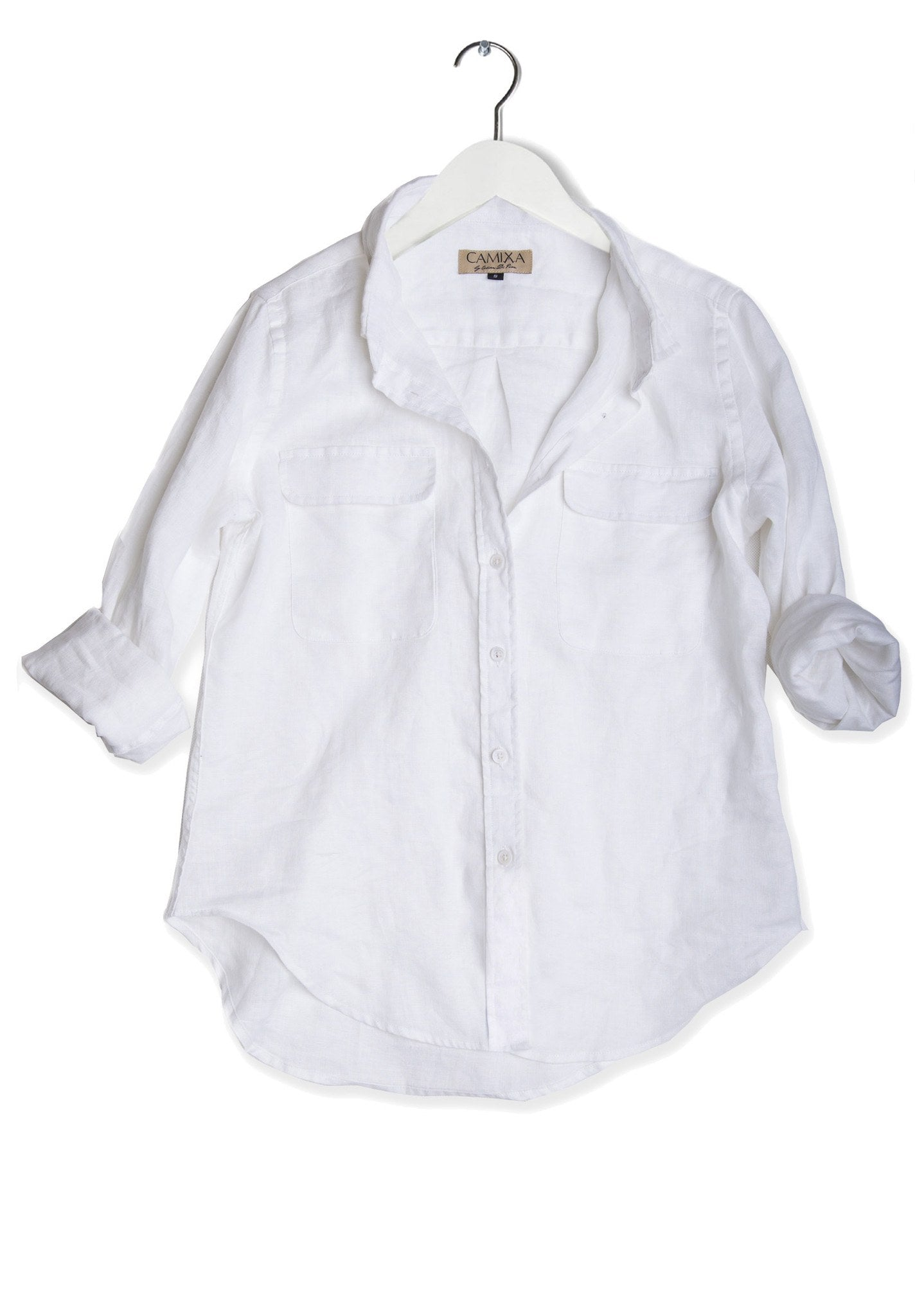 Lete White, Relaxed Linen Shirt with Pockets