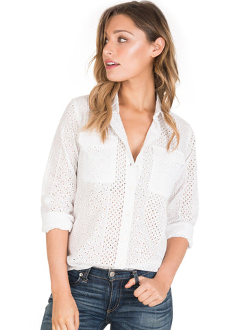 Anna Lace White, Sleeveless Broderie Anglaise Shirt Band Collar