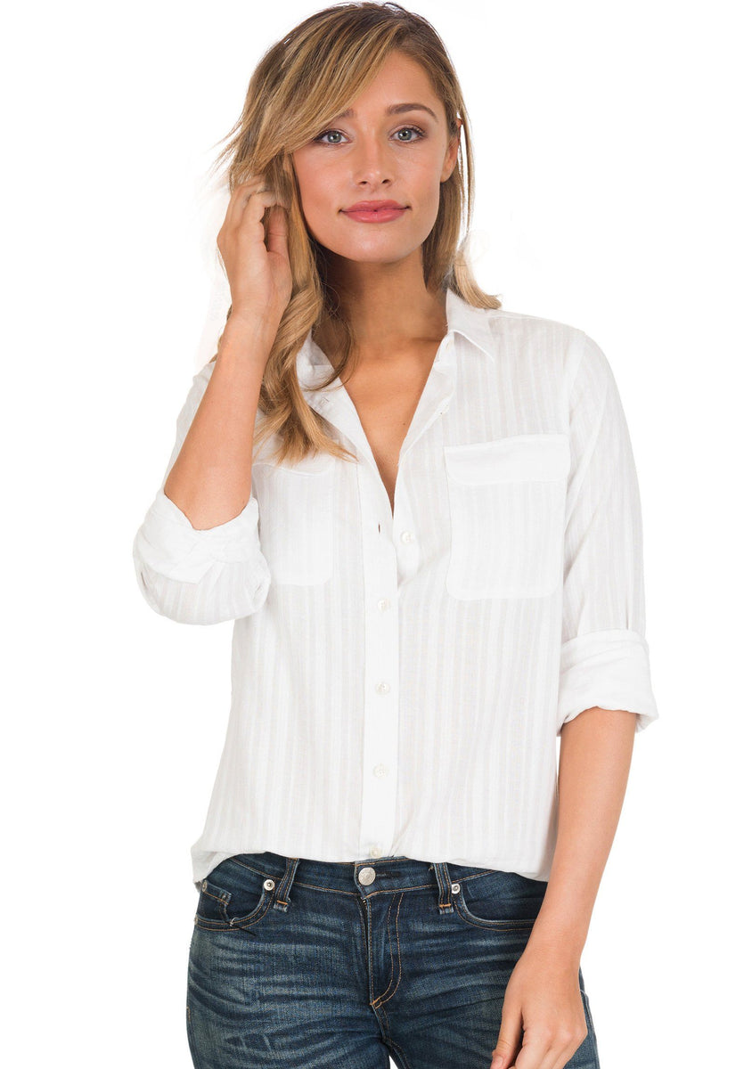 Lete Seersucker White Long Sleeve Pure Cotton Casual Shirt Camixa