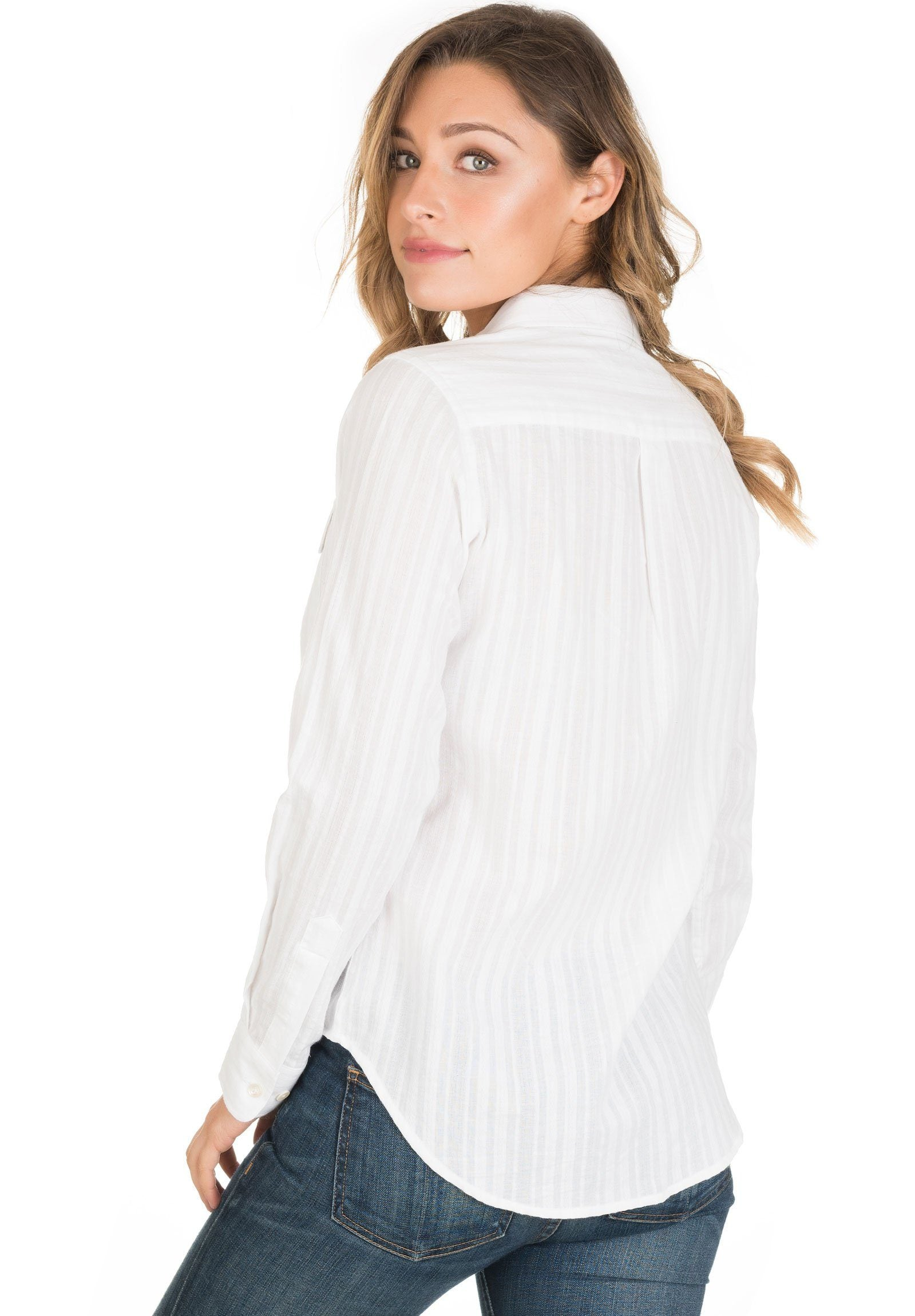 Lete Seersucker White, Long sleeve Pure Cotton Casual Shirt