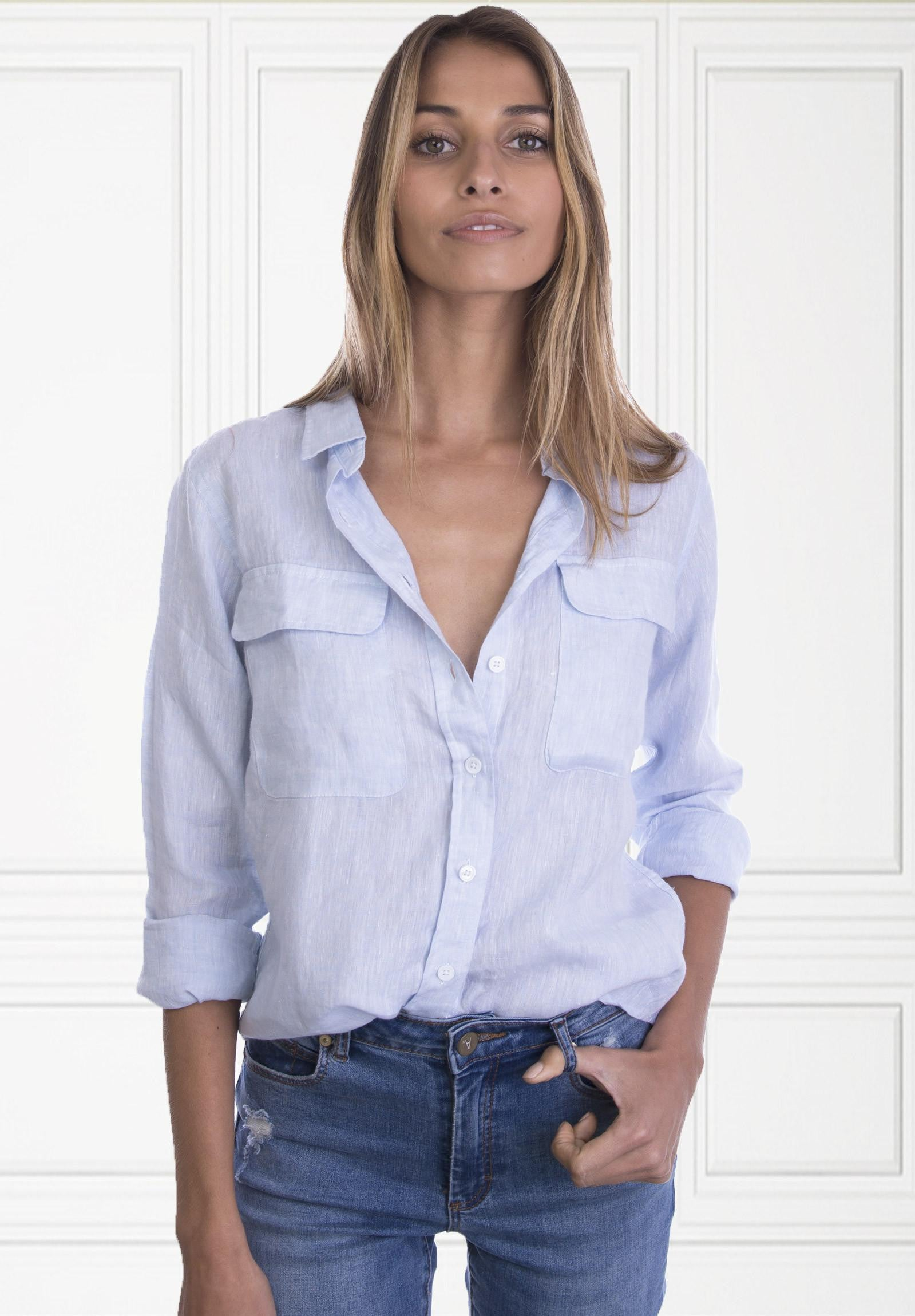 Lete Sky Blue Relaxed Linen Shirt With Pockets Camixa