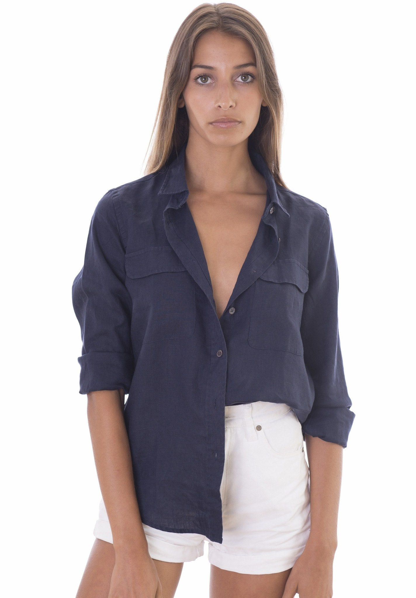 Lete Night Blue, Relaxed Linen Shirt with Pockets