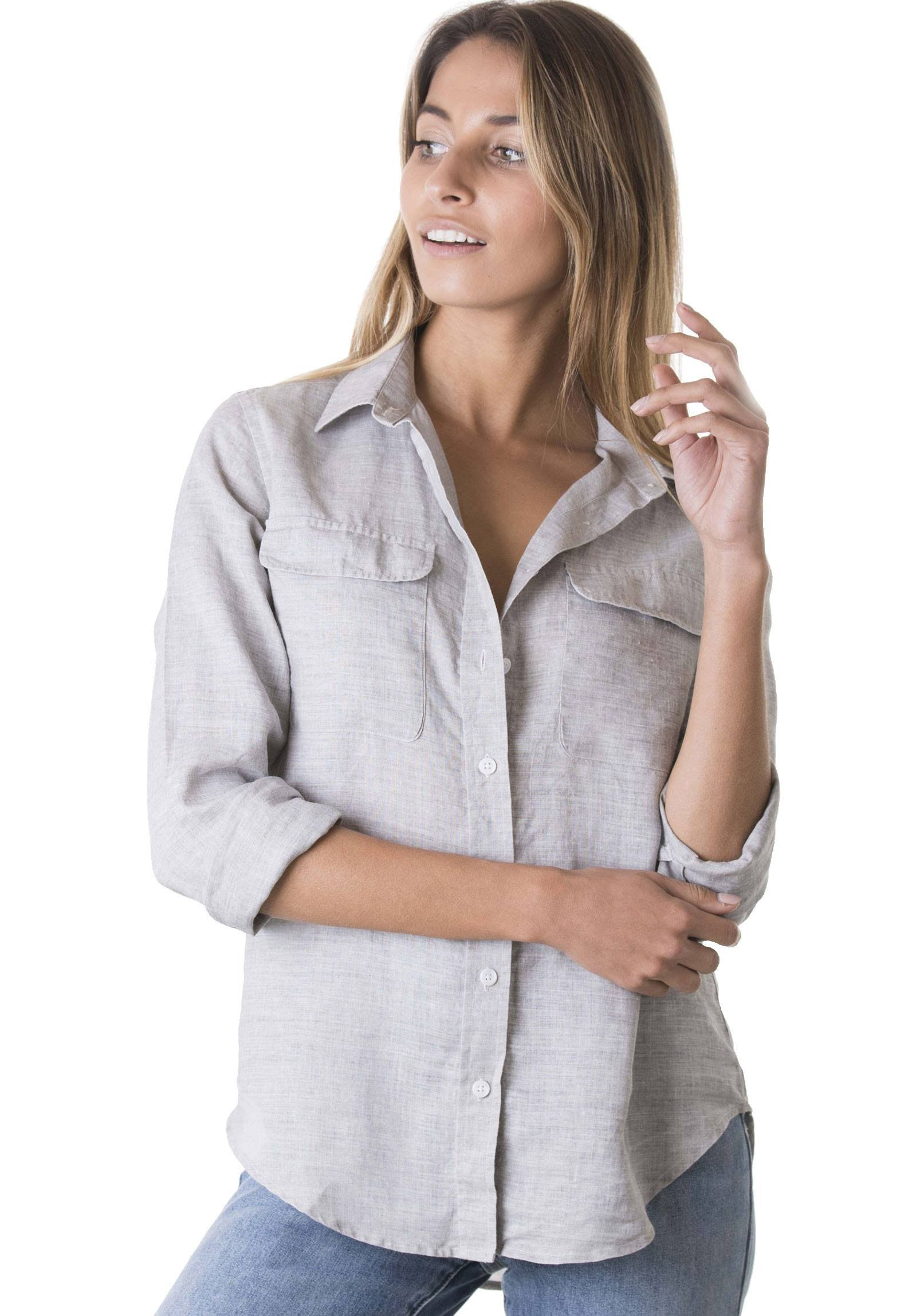 4ecb2583 Lete Grey, Relaxed Linen Shirt with Pockets – CAMIXA