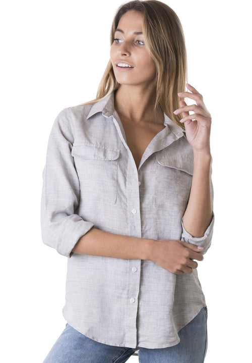Lete Grey, Relaxed Linen Shirt with Pockets
